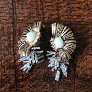 Anthropologie fan beaded statement earrings